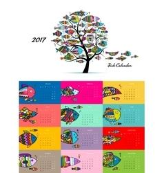 Art fish tree Design calendar 2017 vector image