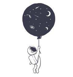 Astronaut and space balloon vector