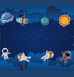 Astronaut on space template vector