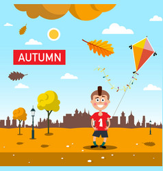 Autumn - fall landscape with falling leaves happy vector