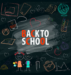 back to school text in blackboard with school vector image