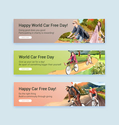 banner template with world car free day concept vector image