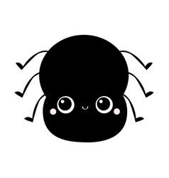 Black spider icon cute cartoonkawaii funny vector