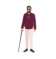 Blind man wearing sunglasses and holding cane vector