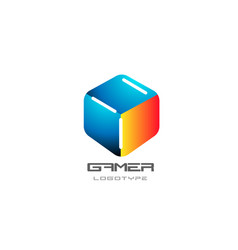 blue yellow red game 3d gaming cube business logo vector image
