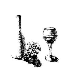 bottle wine grape glass wine pencil still vector image