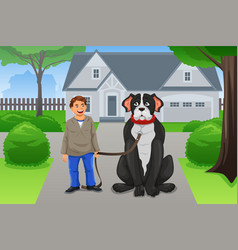 boy and his big dog vector image