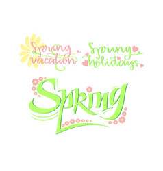 Bright typographic spring inscriptions collection vector