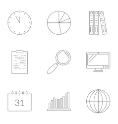 Business planning icons set outline style vector image