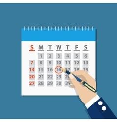 businessman hand mark on the calendar by pen vector image
