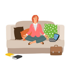 businesswoman resting meditation vector image