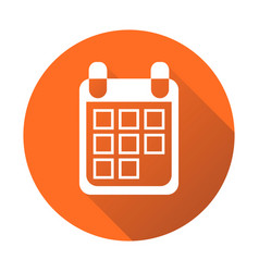 calendar icon on orange round background flat vector image