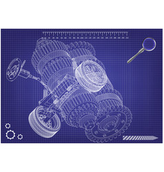 Car suspension and gear mechanism on a blue vector