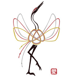 Card with traditional mizuhiki node as crane bird vector