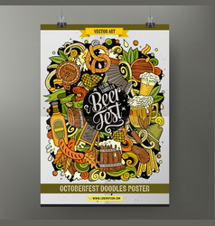 cartoon hand drawn doodles beer fest poster design vector image