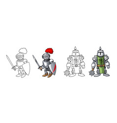 cartoon medieval confident armed knights isolated vector image