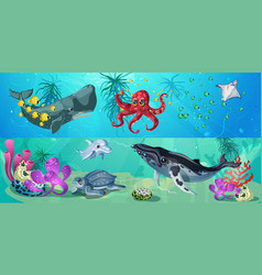 Cartoon underwater life horizontal banners vector