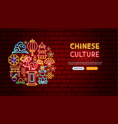 chinese culture neon banner design vector image