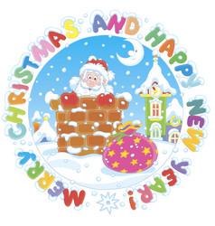 christmas card with santa and gift bag vector image
