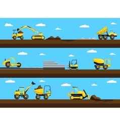 Construction process Bulldozer truck and vector image