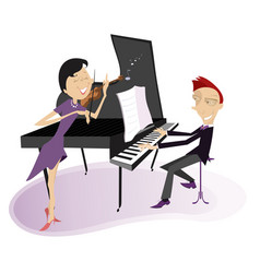 couple musicians play music on violin and piano vector image