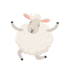 cute happy white sheep character jumping vector image