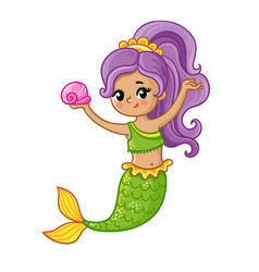 Cute mermaid smiles and holds a seashell in her vector