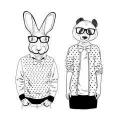 Cute panda girl and smart rabbit in glasses vector