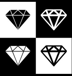 Diamond sign black and white vector