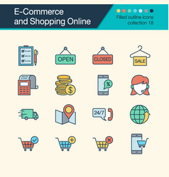 e-commerce and shopping online icons filled vector image