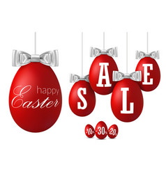 Easter egg sale 3d happy easter hanging red eggs vector