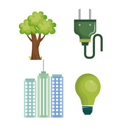 Eco friendly objects set vector