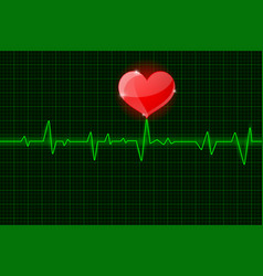 Electrocardiogram sign green waves with red heart vector