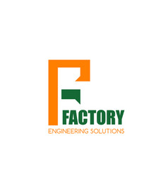F letter icon for engineering factory vector