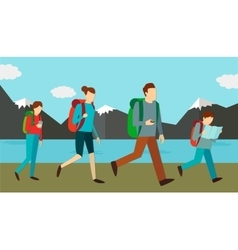 Family weekend outdoors vector image