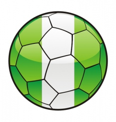 Flag of Nigeria on soccer ball vector