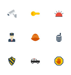 Flat icons shield walkie-talkie armored car and vector