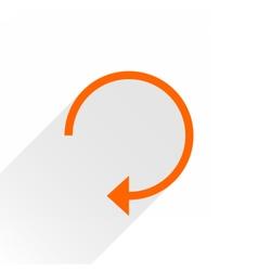 Flat orange arrow icon reset sign on white vector