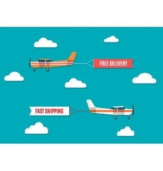 flying advertising banners pulled light plane vector image