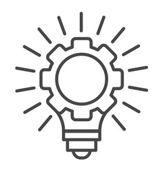 gear wheel bulb idea icon outline style vector image