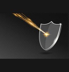 Glass shield reflects lightning strike acrylic vector