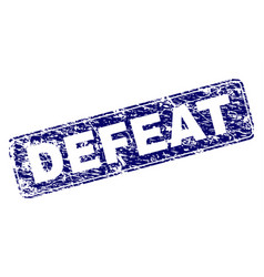 Grunge defeat framed rounded rectangle stamp vector
