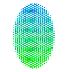 Halftone blue-green filled ellipse icon vector