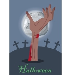 Halloween concept with zombie hand on grave vector