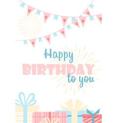 Happy birthday to you greeting card flat vector