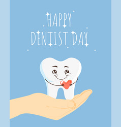 Happy dentist day cartoon vector