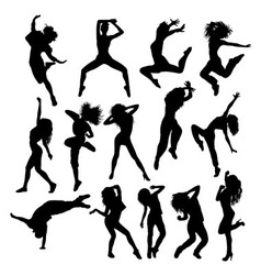 Happy Hip Hop Silhouettes vector image