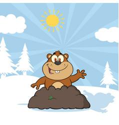 Happy marmot cartoon character waving vector