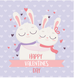 happy valentines day cute couple rabbits hugging vector image