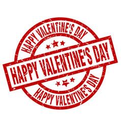 Happy valentines day round red grunge stamp vector